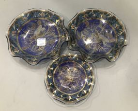 Crimped Art Glass Peacock Dishes