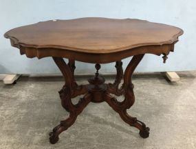 Antique French Style Turtle Top Parlor Table