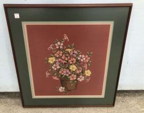 Framed Needle Point Still Life Flowers