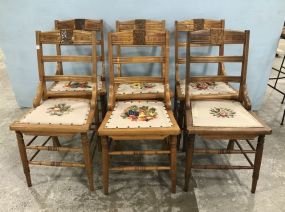 Six Vintage Maple Ladder Back Dinning Chairs