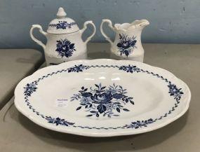 Dresden Blue Ironstone Platter, Creamer, Sugar