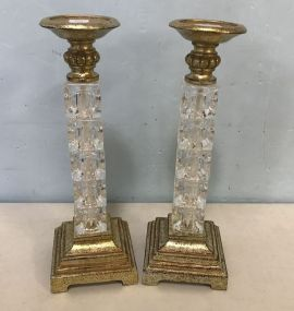 Pair of Modern Glass and Gold Gilt Candle Holders
