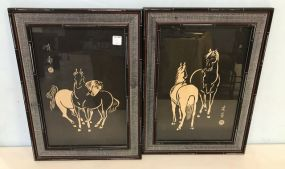 Pair of Oriental Style Horse Wood Block Prints