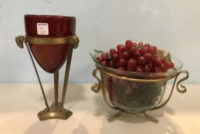 Two Brass and Glass Center Piece