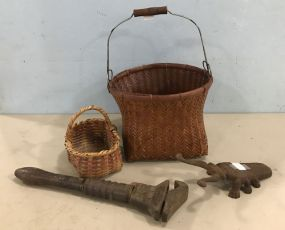 Two Woven Baskets, Iron Bug Decor, and Antique Wrench