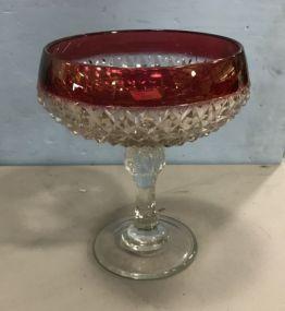 Indiana Diamond Pattern Glass Compote Wedding Bowl