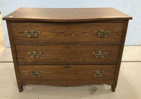Vintage Three Drawer Oak Chest