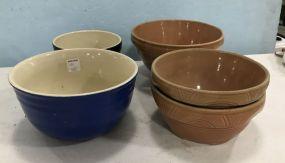 Five Stoneware Pottery Bowls