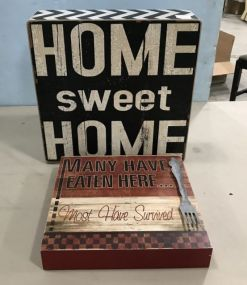 Home Sweet Home and Many Have Eaten Here Decorative Plaques