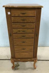 Oak Queen Anne Jewelry Cabinet