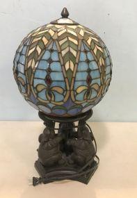 Elephant Base Globe Slag Glass Lamp