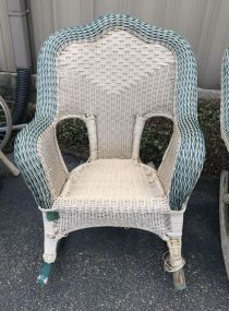 Large Wicker Woven Arm Chair