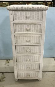 White Wicker Lingerie Chest of Drawers