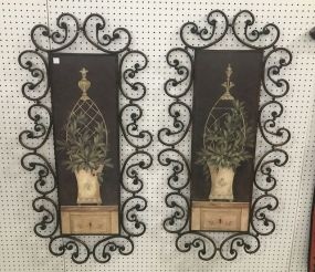 Pair of Decorative Metal Wall Panel Art