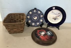 Collectible Plates and Woven Basket