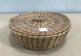 Hand Woven Straw Covered Basket
