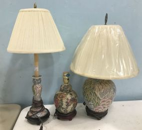 Three Modern Decor Hand Painted Lamps