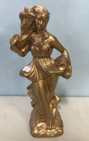 Gold Painted Ceramic Lady Statue