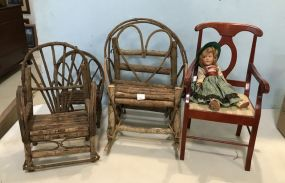 Group of Dolls Twig Furniture and Chair