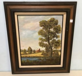 Oil Painting of Farm by Louis Risher