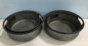 Three New Galvanized Metal Round Buckets