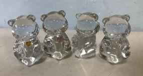 Four Fenton Glass Bear Figures