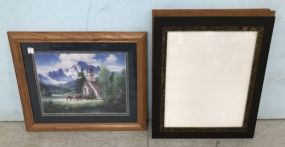 Framed Church Poster and Three Wood Picture Frames