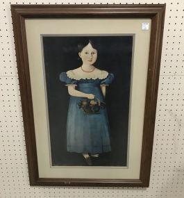 Framed Girl in Dress with Fruit Basket