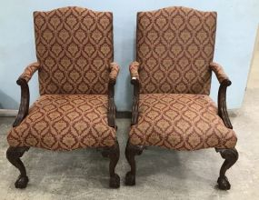 Pair of South Wood Ball-n-Claw Upholstered Arm Chairs