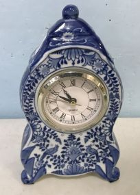 Modern Blue and White Porcelain Small Clock