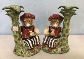 Kaldun & Bogle Porcelain Hand Painted Monkey Candle Holders