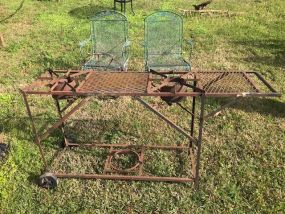 Hand Made Metal Grill Cart
