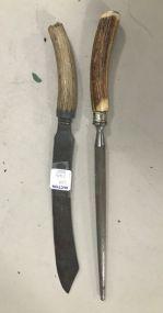 Vintage Antler Handle Knife and Knife Sharper