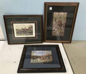 Three English Hunting Scene Prints