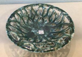 Glazed Colorful Pottery Centerpiece Bowl
