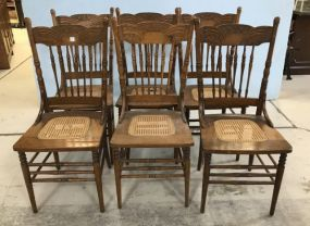 6 Vintage Oak Pressed Back Dinning Chairs
