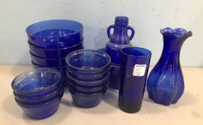 Group of Blue Glass Ware Pieces