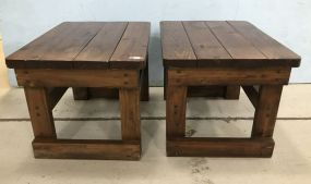 Pair of Primitive Style Hand Made Side Tables