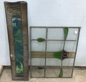 Two Leaded Stained Glass Panels