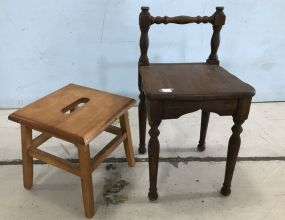 Foot Stool and Small Wood Chair