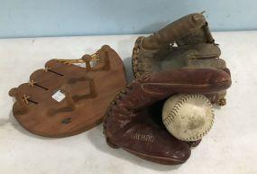 Vintage Baseball Gloves and Baseball Glove Wall Rack