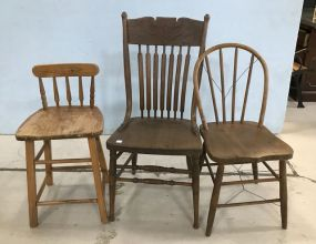 Antique Oak Pressed Back Side Chair, Bentwood Chair, and Stool