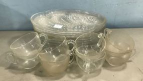 Pressed Glass Luncheon Plates and Cups