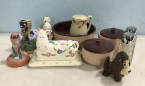 Stoneware Pottery, Cow Butter Dish, Salt Pepper, Cookie Presses