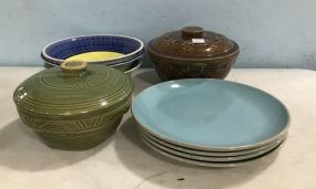 Pottery Bowls and Covered Dishes