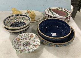 Assorted Ceramic Pottery Plates and Bowls