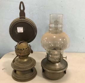 Two Brass Wall Sconce Oil Lamps