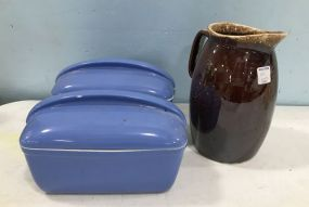 Two Blue Hall Pottery Container and Hull Glazed Pitcher
