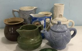 Group of Stoneware Pottery and Porcelain Pitchers