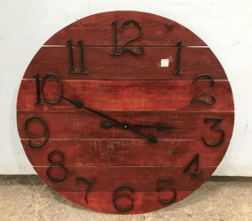 Red Painted Wood Round Wall Clock